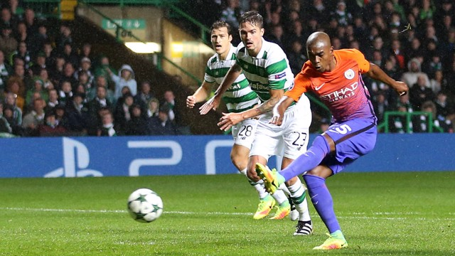 STRIKE: Fernandinho scores City's first equaliser in Wednesday night's draw with Celtic