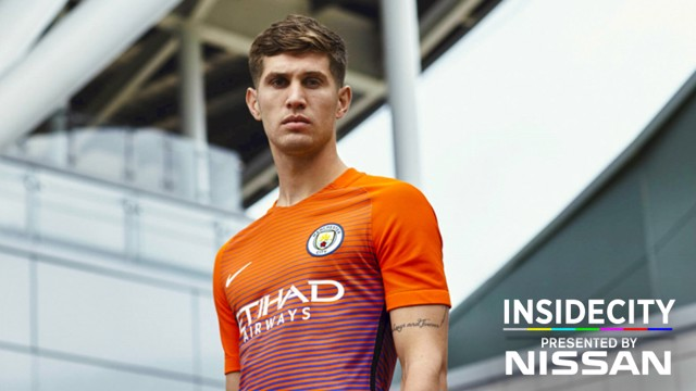 SOLID LOOK: John Stones poses in City's new third kit