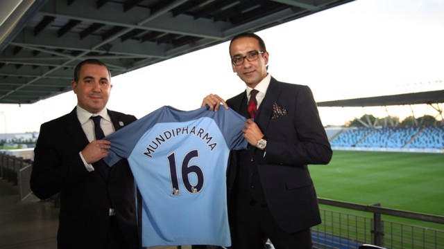 NEW BEGINNINGS: Omar Berrada, Chief Operating Officer for Manchester City and Raman Singh, President for Mundipharma Emerging Markets.