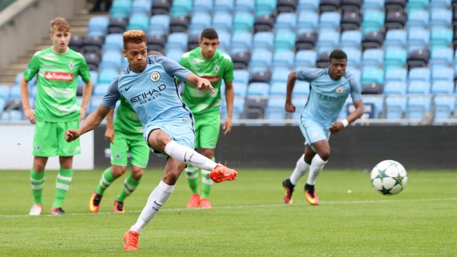 CLEAN STRIKE: Lukas Nmecha converts the penalty early in the match