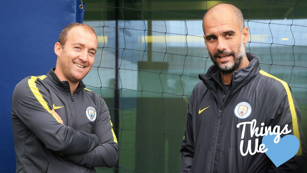 DOUBLE JOY: Pep Guardiola congratulates City Women's boss Nick Cushing after a historic achievement for the club