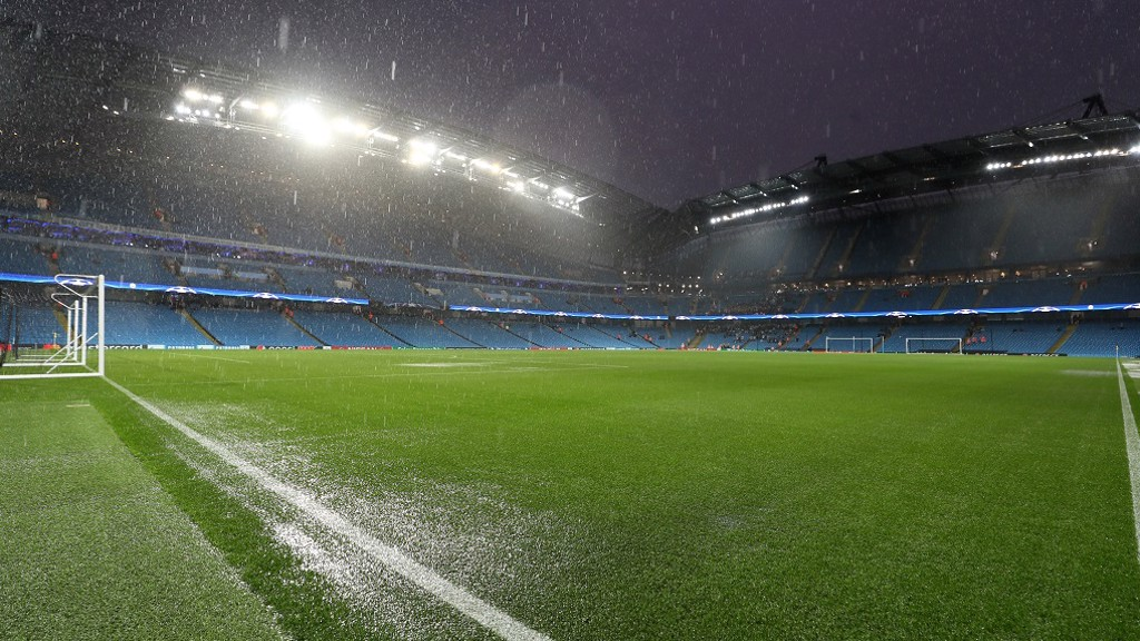 SOAKED: The Etihad pitch ahead of the BMG clash