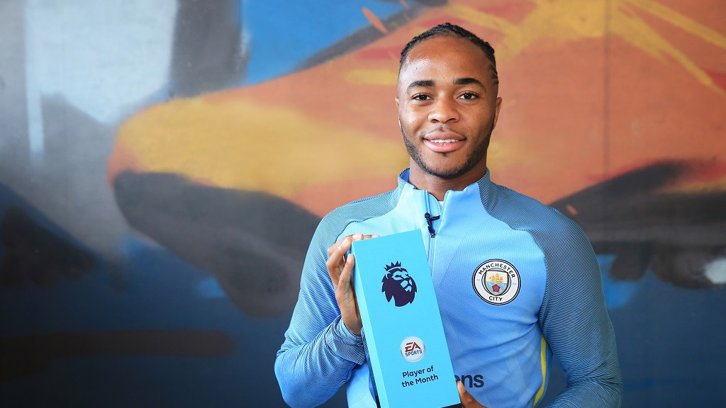 DREAM START: Raheem receives the EA Sports award fro August
