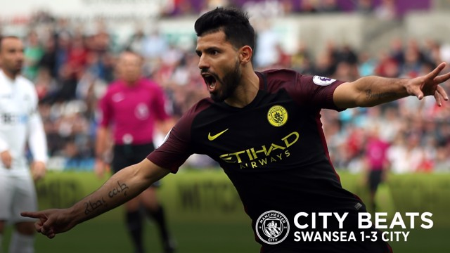 KING KUN: Sergio Aguero marked his return to Premier League action with a brace against Swansea