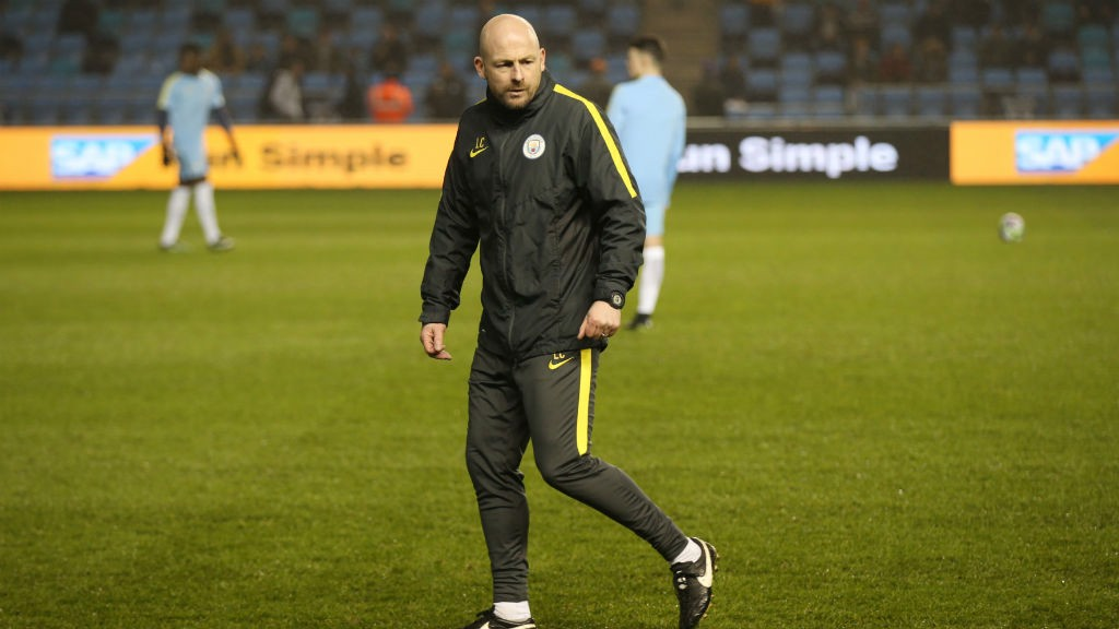 CARSLEY: Manchester City's U18 boss oversees the warm up ahead of the FA Youth Cup final