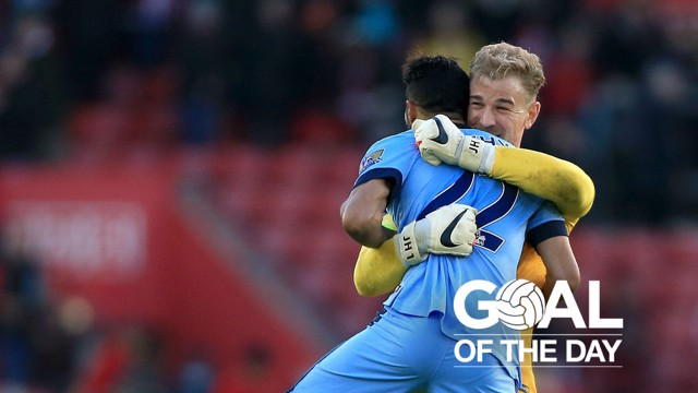 GAEL FORCE: Clichy celebrates a stunning goal with Joe Hart