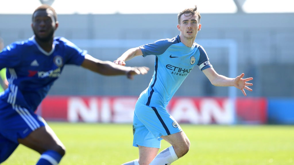 FRANCIS: City's defender keeps his eye on the ball during the U18 Premier League clash between the sides
