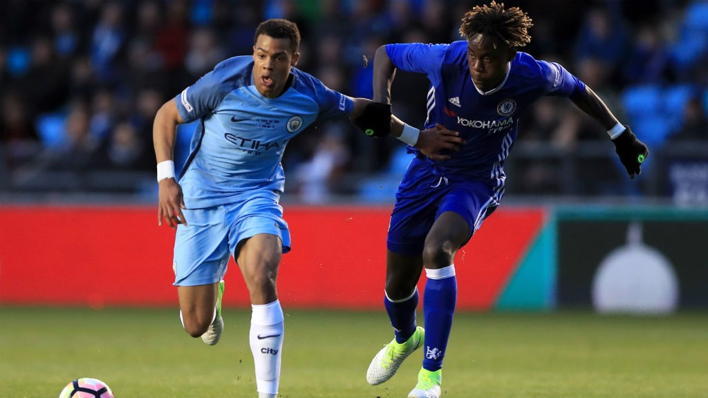 NMECHA: City's striker battles hard during the first leg of the FA Youth Cup final with Chelsea