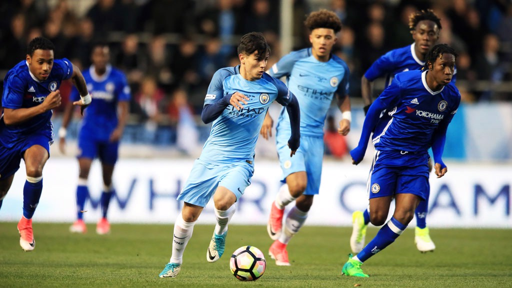 DRIVING FORWARD: Brahim Diaz looks to get at the Chelsea defence