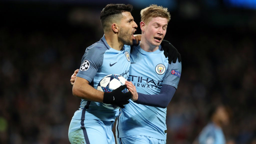 LETHAL DUO: Sergio Aguero and Kevin De Bruyne celebrate after scoring in the victory over Monaco