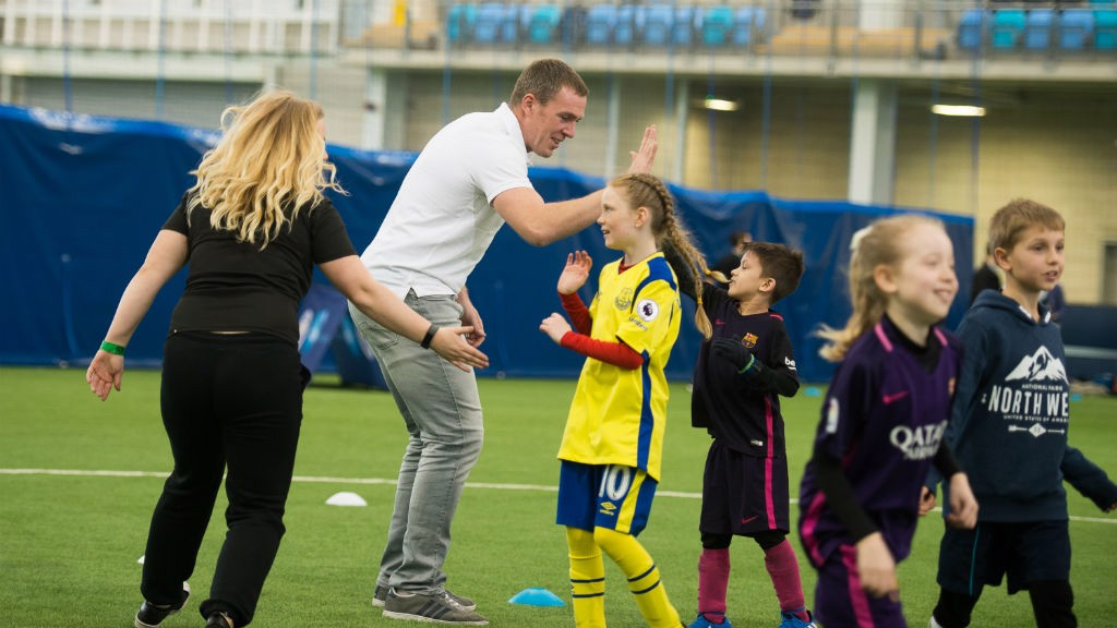 HIGH FIVE: Richard Dunne joined City in the Community's celebrations.