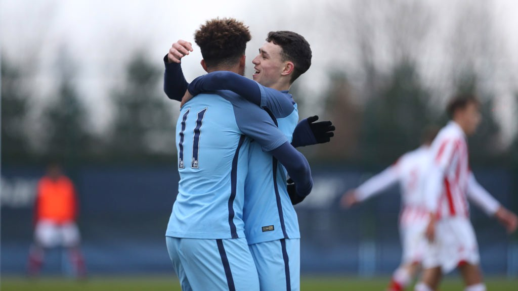 SANCHO AND FODEN: Two of  the England stars in action for Manchester City