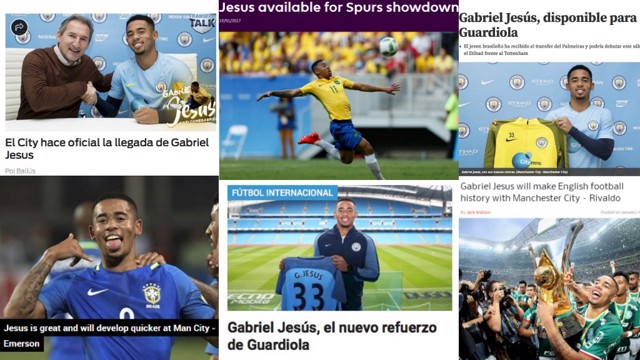HITTING THE HEADLINES: Let's see what the footballing world make of Man City's Gabriel Jesus...