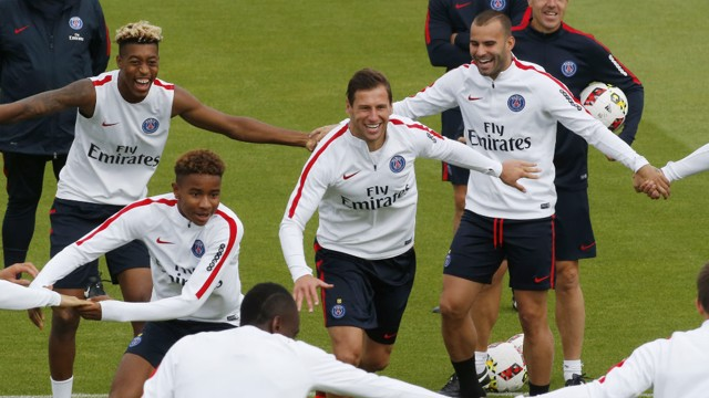 SMILING DUO: Krychowiak and Jese enjoy themselves during Paris Saint-Germain training...