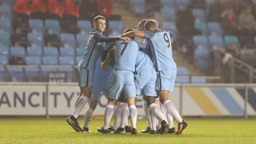 CUP JOY: City celebrate Tom Dele-Bashiru's opening goal against Liverpool