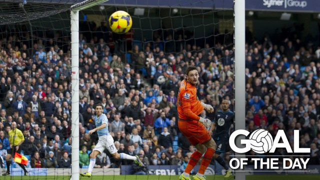OFF THE MARK: Jesus Navas scored his first City goal against Spurs back in 2013.