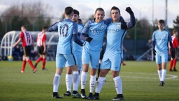 TEAMWORK: Ian Poveda, Joe Hardy, Ian Poveda and goalscorer Lorenzo Gonzalez celebrate City's second.