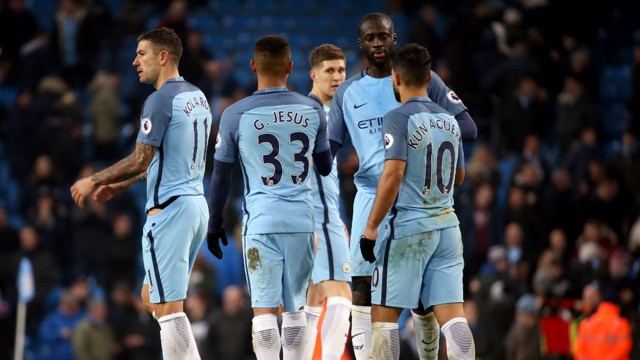 YAYA TOURE: City's Ivorian greets his teammates after the draw with Tottenham Hotspur