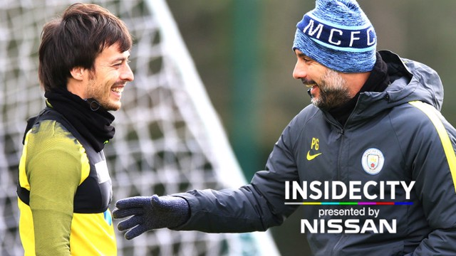 INSIDE CITY 234: Silva and Pep share a joke during training