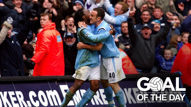 GOAL! Kiki Musampa and Lee Croft celebrate a 90th-minute winner against Liverpool