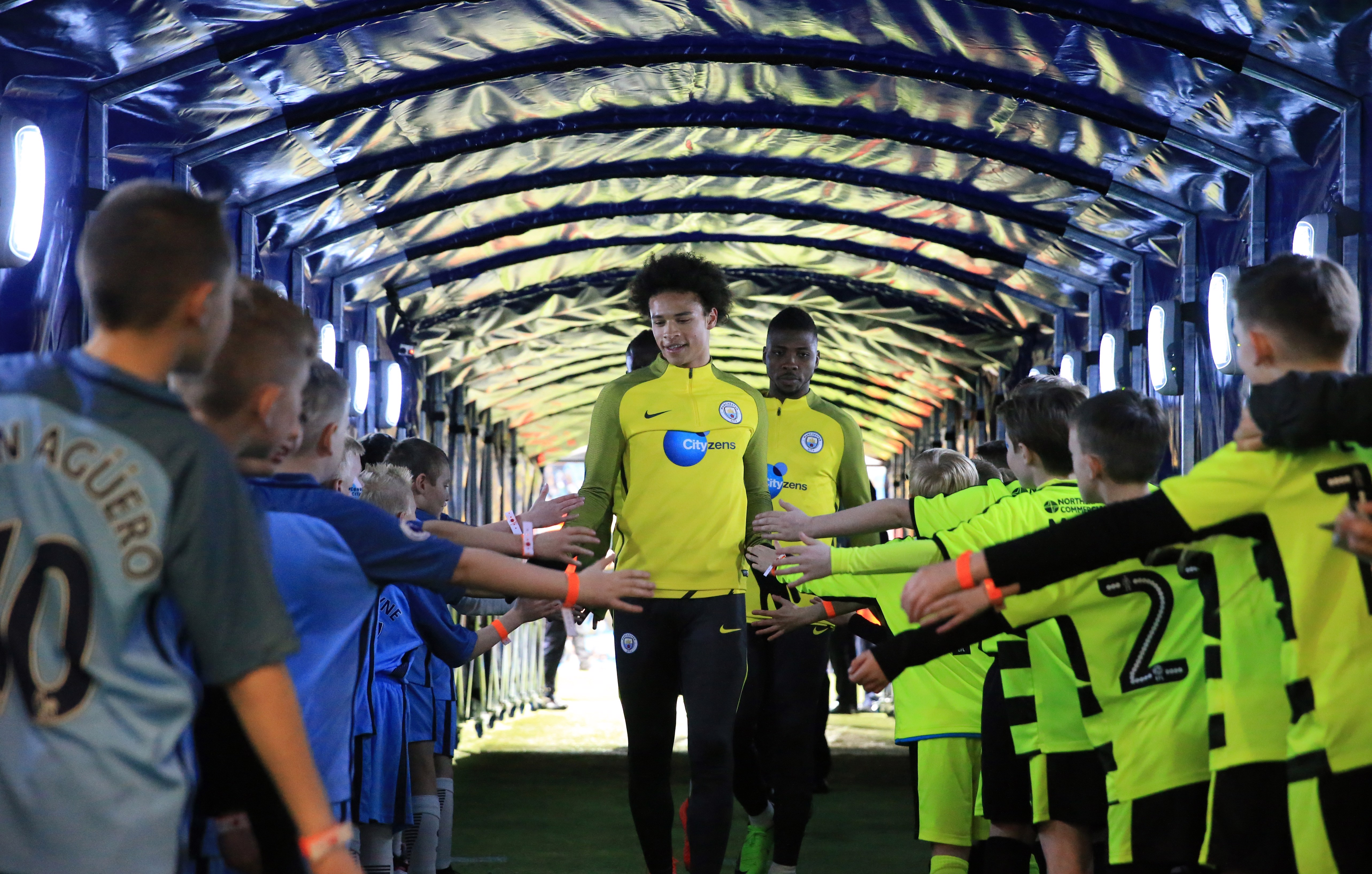 TUNNEL CAM: Leroy Sané walks through the player's tunnel, pre-match of City v Huddersfield.
