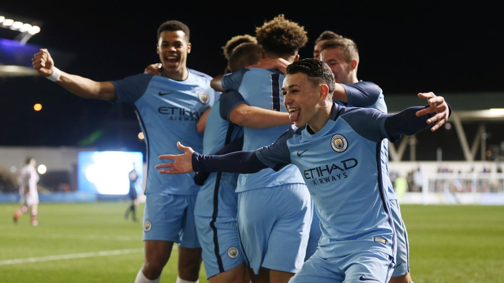 FRIDAY FEELING: Phil Foden celebrates after Braham Diaz opens the scoring