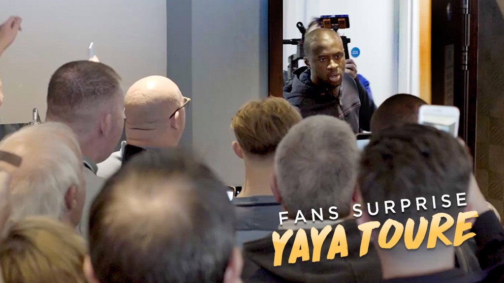 SURPRISE: Yaya Toure wasn't expecting to find what he found behind the door!