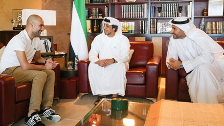 Pep visits Sheikh Mansour with City Chairman