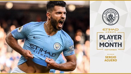 Aguero voted September Etihad Player of the Month