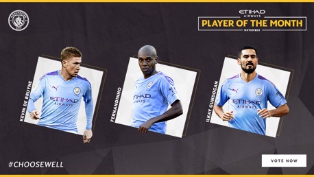 Trio shortlisted for November Etihad POTM award