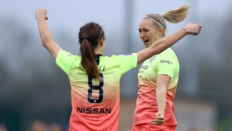 BUZZING BREMER: Jill Scott congratulates Pauline Bremer on her first goal