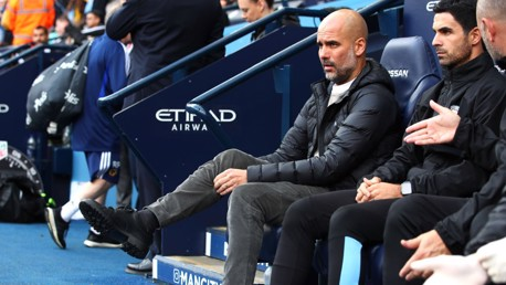 PRE-MATCH: Pep Guardiola takes his seat ahead of our clash with Wolves.