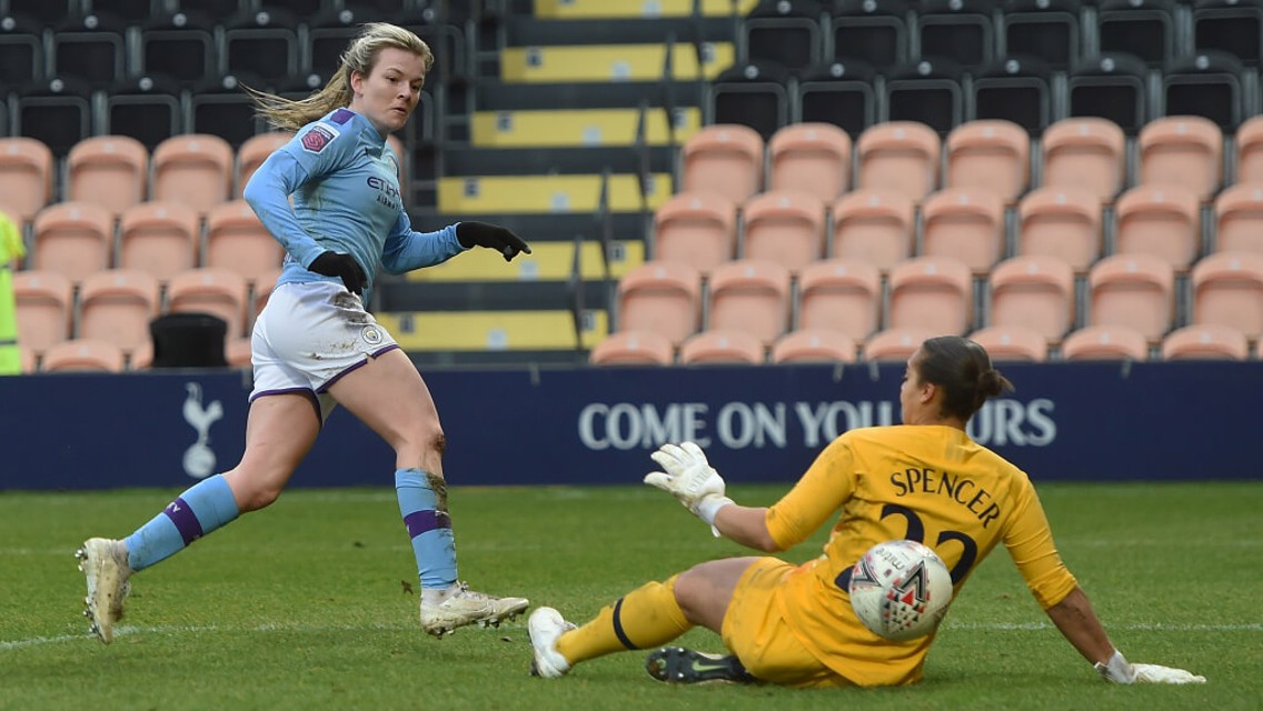 YOUNG STAR: Lauren Hemp bags the fourth of the game