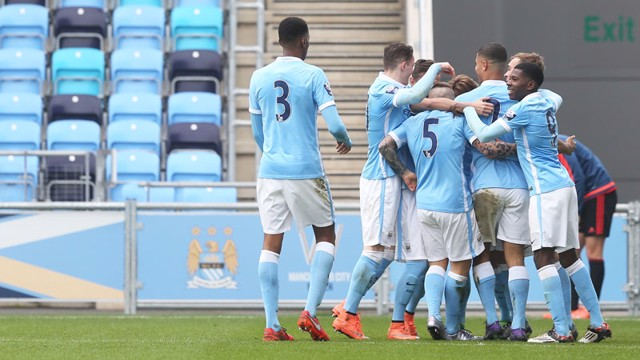 EQUALISER: City EDS celebrate after Aleix Garcia made it 1-1 against Sunderland U21s.