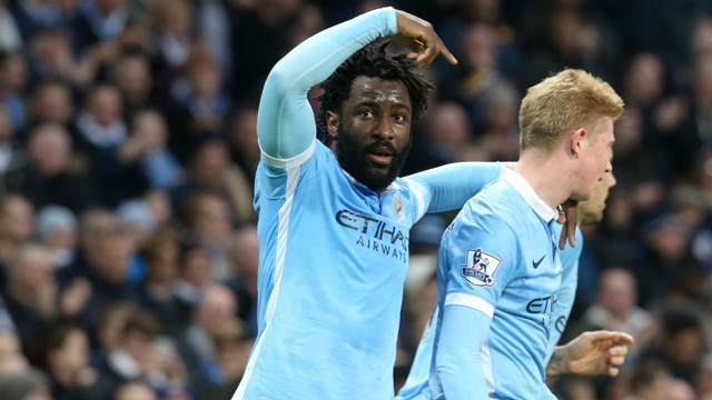 HE'S THE MAN: Wilfried Bony salutes Kevin De Bruyne