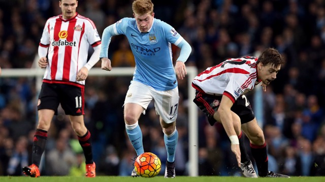 SEE YOU LATER: Kevin De Bruyne gets away from Sebastian Coates
