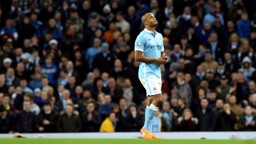INJURY BLOW: Skipper Vincent Kompany trudges off the field against Sunderland