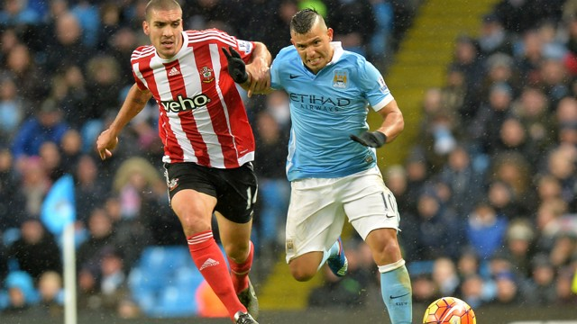 FULL THROTTLE: Sergio Aguero in action against Southampton