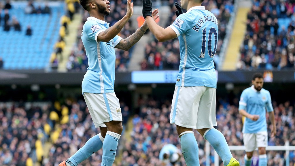 PARTNERSHIP: Raheem Sterling and Sergio Aguero celebrate a goal against Aston Villa.