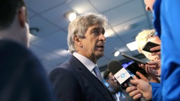 MEDIA SCRUM: Manuel faces the press following victory over Aston Villa