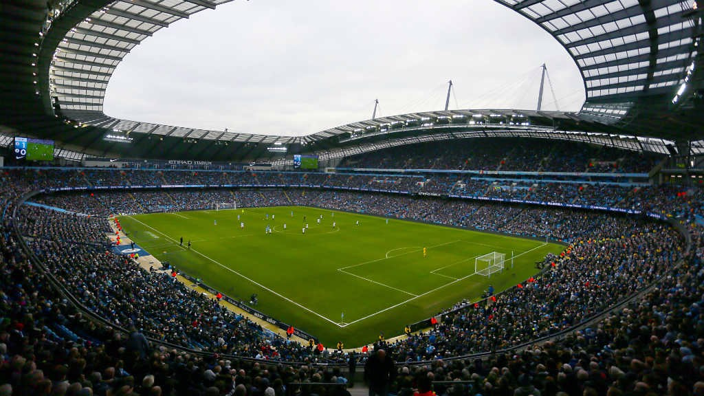 MATCHDAY: City in action at the Etihad Stadium.