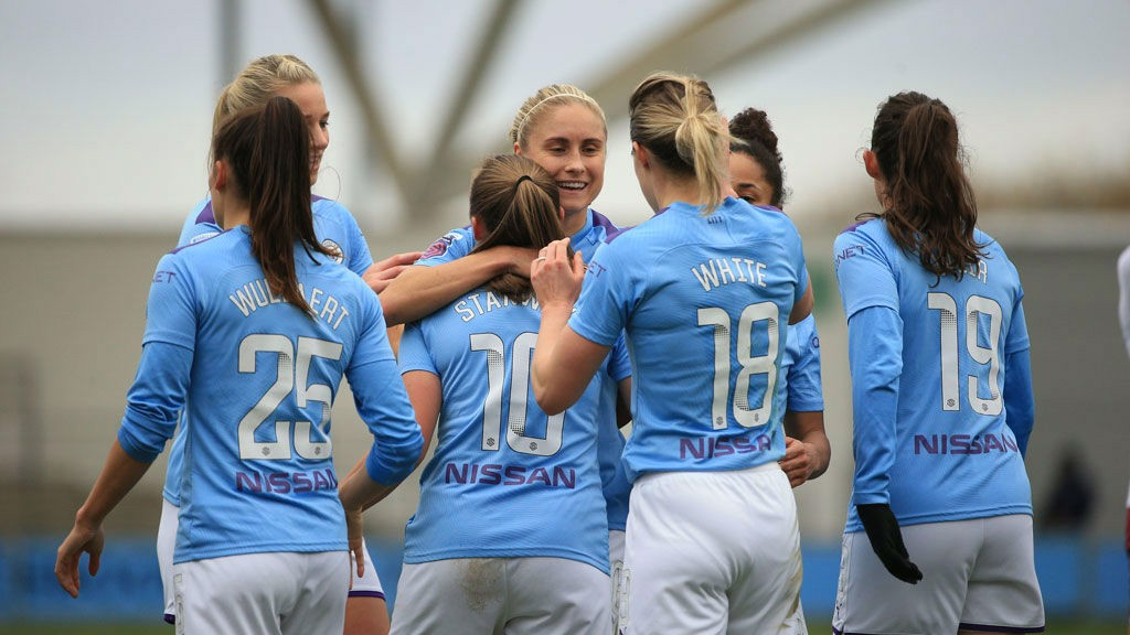 DAY TO REMEMBER : The City players salute Georgia Stanway after her second goal