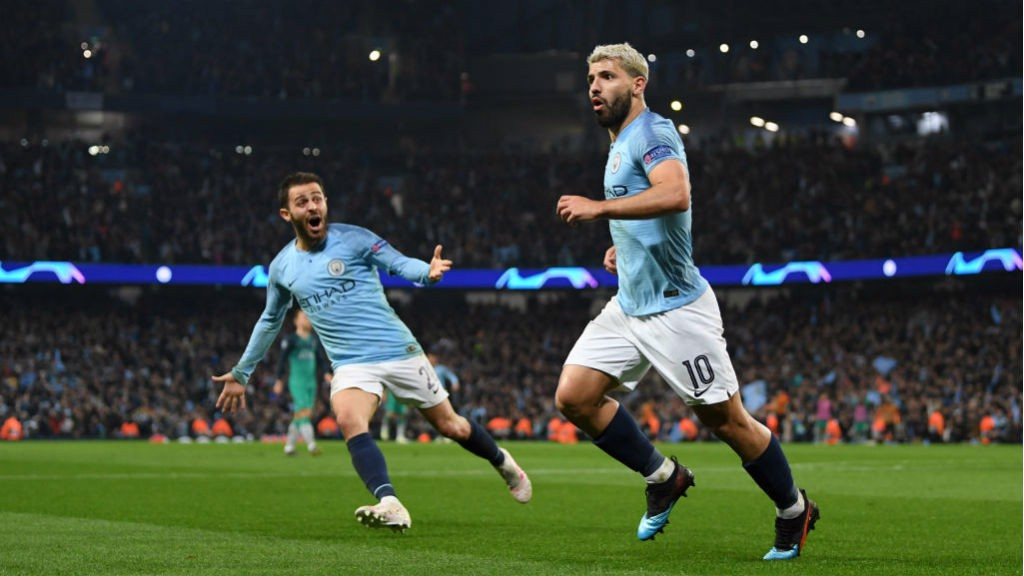 MASTER BLASTER : Sergio Aguero wheels away in triumph after his wonderful strike