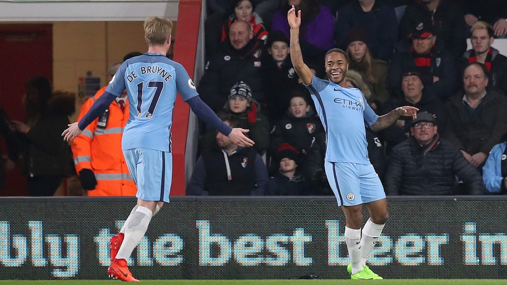 GOOD TIMES : Sterling celebrates putting City 1-0 up away to Bournemouth