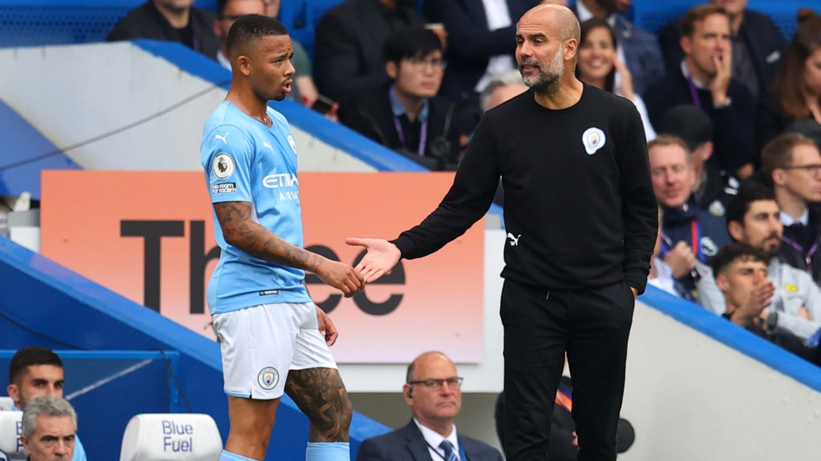PEP TALK: The boss has a word with Jesus mid-way through the first-half.