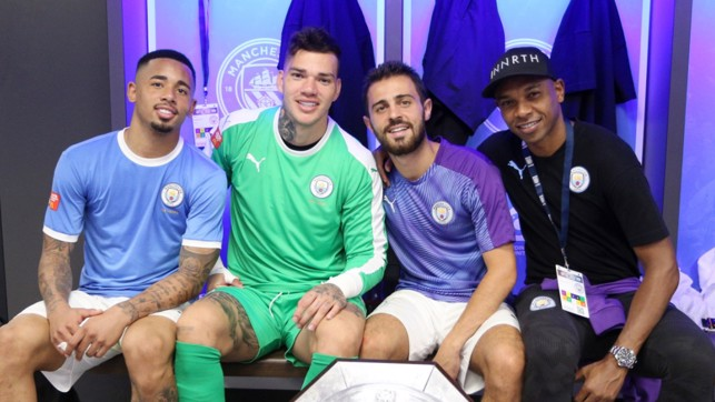 PORTUGEEZERS : Gabriel Jesus, Ederson, Bernardo and Fernandinho celebrate at Wembley.
