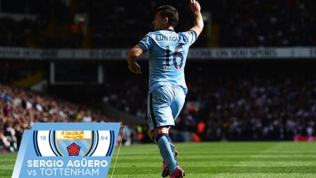 Sergio Agüero contra el Tottenham