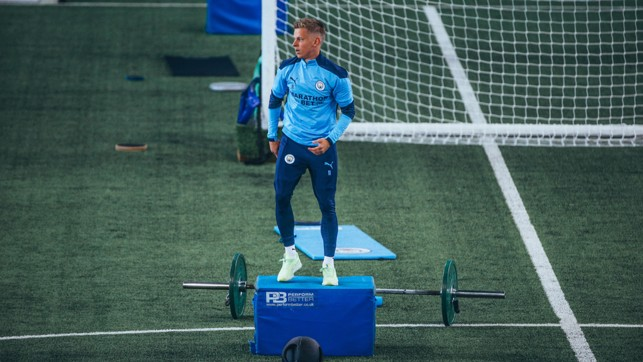 HIGH LIFE: Oleks Zinchenko gets to work on the indoor pitch at the CFA
