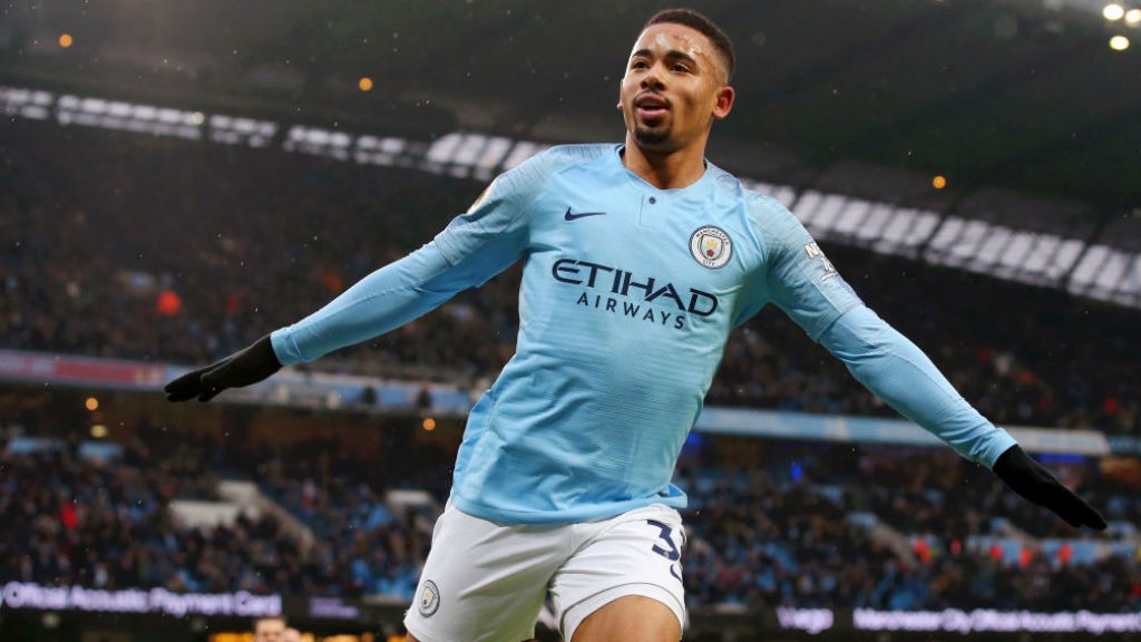 SAMBA SMILE : Gabriel Jesus wheels away in delight after scoring