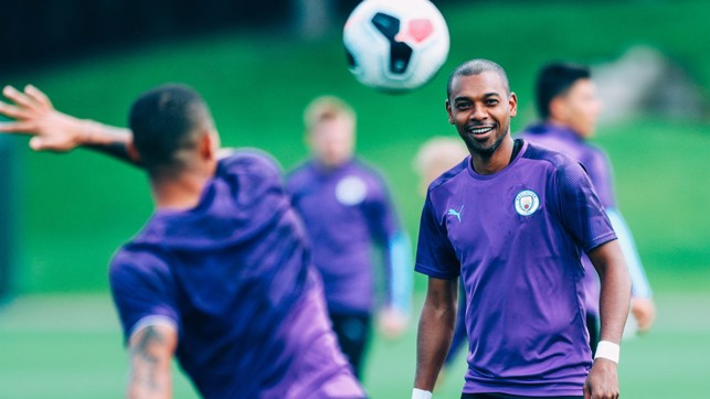 ENGINE : Fernandinho watches on.